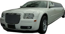 White Chrysler limo for hire, School Proms, Birthday celebrations and anniversaries. Cars for Stars (Newcastle)